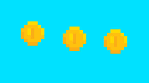 Pixel art game golden jumping score coins. Business, finance, currency concept Footage