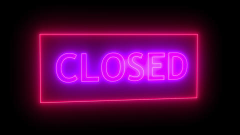 Closed neon sign. 3d rendering Stock Video Footage