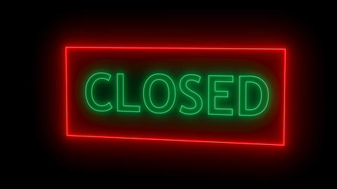 Closed neon sign. 3d rendering Footage