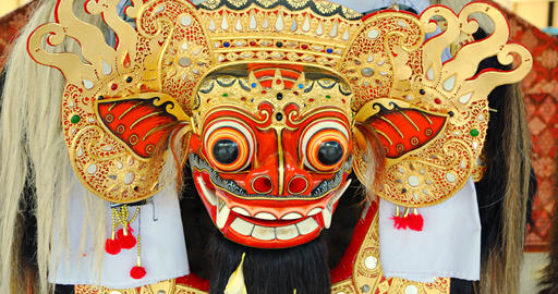 Balinese Barong Mask. Part of Costume for Cultural Dance Footage