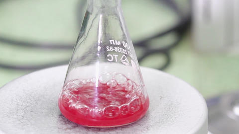 Red liquid is bubbling in a flask Footage