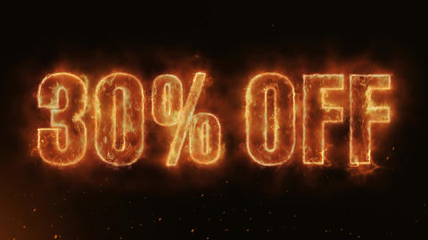 30% OFF Text Electric Energy Revealed Hot Glowing Burning Fire Motion Background Animation