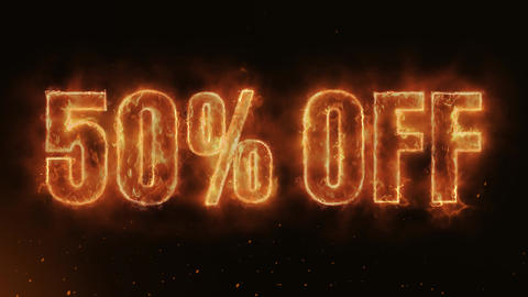 50% OFF Text Electric Energy Revealed Hot Glowing Burning Fire Motion Background Animation