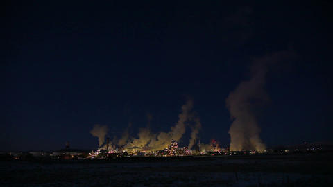 Isolated power plant at night landscape Footage