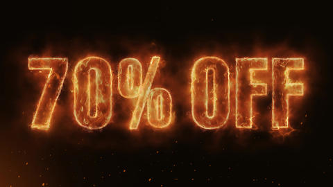 70% OFF Text Electric Energy Revealed Hot Glowing Burning Fire Motion Background Animation