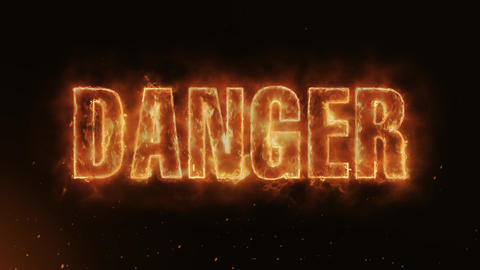 DANGER Text Electric Energy Revealed Hot Glowing Burning Fire Motion Background Animation