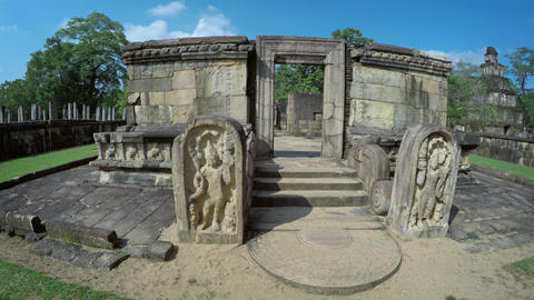 Relief Sculptures Flanking Entrance to Stone Ruin in Polonnaruwa. Sri Lanka Live Action