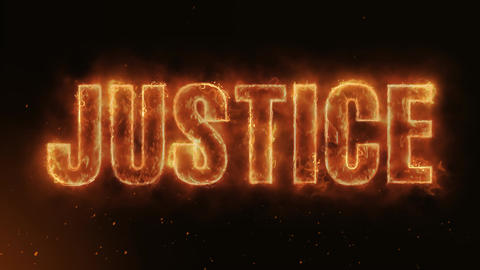 Justice Text Electric Energy Revealed Hot Glowing Burning Fire Motion Background Animation