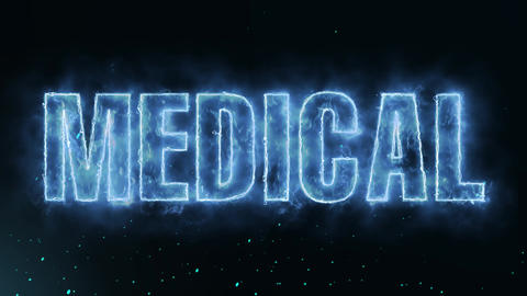 Medical Text Electric Energy Revealed Hot Glowing Burning Fire Motion Background Animation