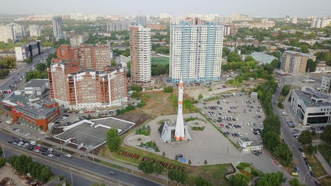 Museum and Exhibition Center Samara Space. Monument of the carrier rocket Soyuz. Footage
