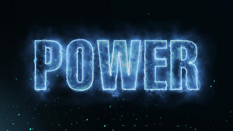 Power Text Electric Energy Revealed Hot Glowing Burning Fire Motion Background Animation