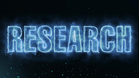 research Text Electric Energy Revealed Hot Glowing Burning Fire Motion Animation