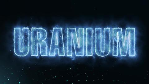 Uranium Text Electric Energy Revealed Hot Glowing Burning Fire Motion Background Animation