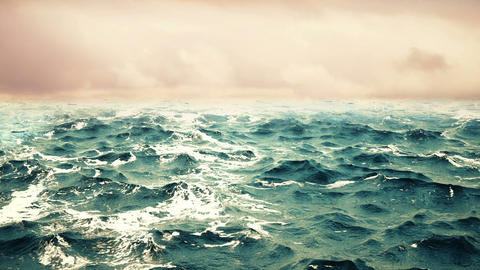 High quality animation of ocean waves with beautiful sky on the background. Animation