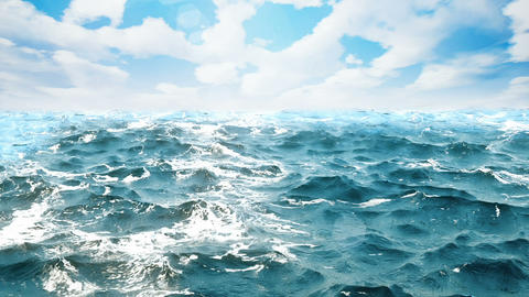 High quality animation of ocean waves with beautiful day sky on the background. Animation