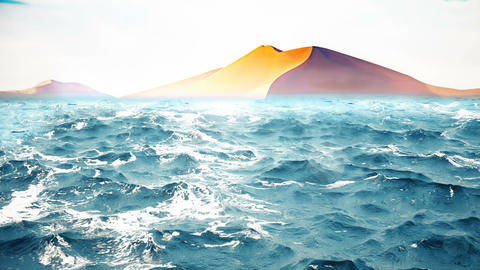 High quality animation of ocean waves with beautiful desert on the background. Animation