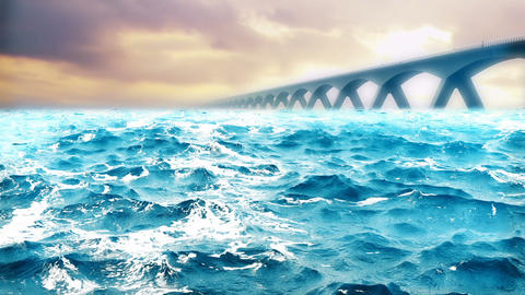 High quality animation of ocean waves with beautiful bridge on the background. Animación