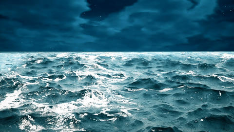High quality animation of ocean waves with beautiful night sky on the Animation