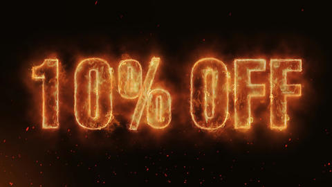 10% OFF Word Hot Burning on Realistic Fire Flames continuous seamlessly loop Animation