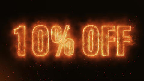 10% OFF Word Hot Burning on Realistic Fire Flames…, Stock Animation