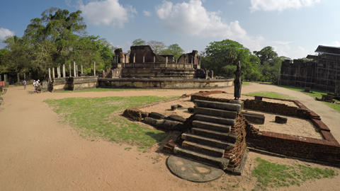 Visitors Enter the Vatadage Ruin in Polonnaruwa. Sri Lanka Footage