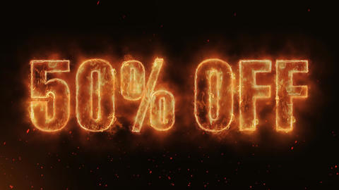50% OFF Word Hot Burning on Realistic Fire Flames continuous seamlessly loop Animation