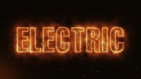 ELECTRIC Word Hot Burning on Realistic Fire Flames continuous seamlessly loop Animation