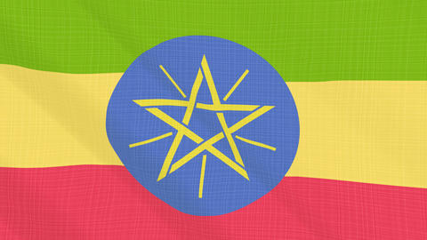 ethiopia flag waving in the wind. Icon in the frame. Animation loop Bild
