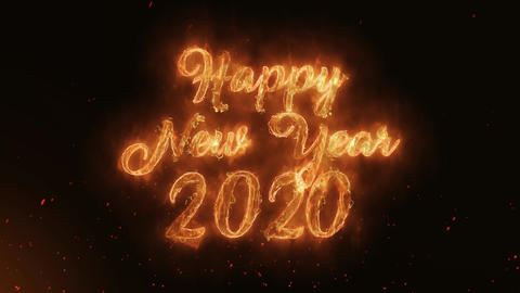 Happy new year 2020 Word Hot Burning on Realistic Fire Flames continuous Animation