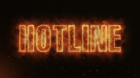 Hotline Word Hot Burning on Realistic Fire Flames... Stock Video Footage