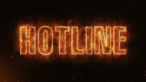Hotline Word Hot Burning on Realistic Fire Flames continuous seamlessly loop Animation