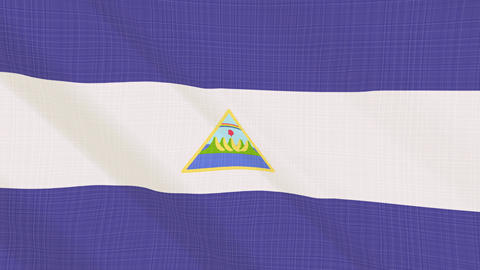 nicaragua flag waving in the wind. Icon in the frame. Animation loop Bild