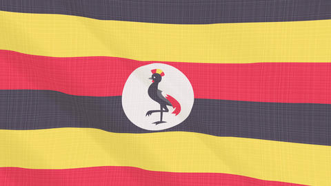 Uganda flag waving in the wind. Icon in the frame. Animation loop Bild