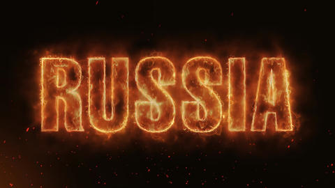 RUSSIA Word Hot Burning on Realistic Fire Flames continuous seamlessly loop Animation