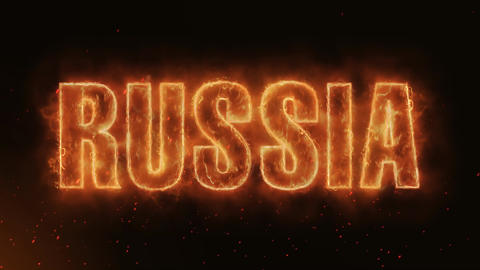 RUSSIA Word Hot Burning on Realistic Fire Flames... Stock Video Footage