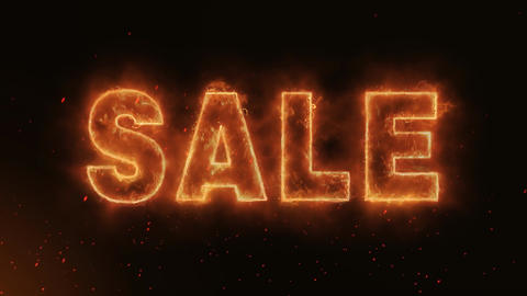SALE Word Hot Burning on Realistic Fire Flames continuous…, Stock Animation
