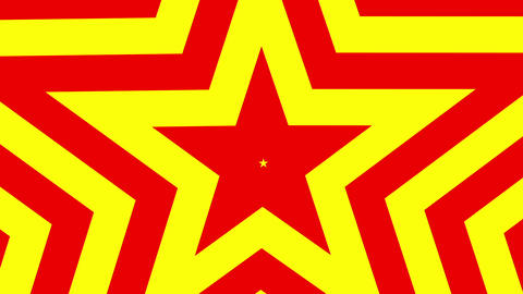 Five point star red and yellow gold star pentagon animated grows. Seamless loop Live Action