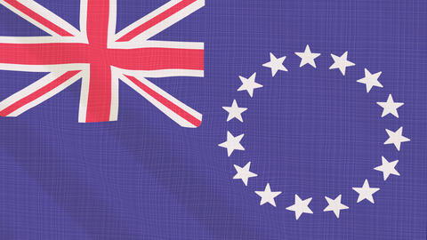 Cook Islands flag waving in the wind. Icon in the frame. Animation loop Bild