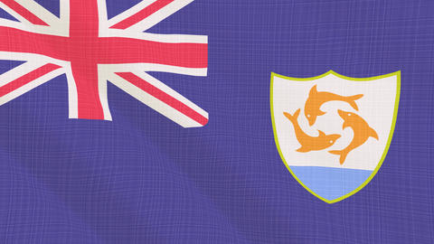 Anguilla flag waving in the wind. Icon in the frame. Animation loop 画像