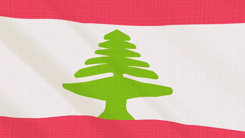 Lebanon flag waving in the wind. Icon in the frame. Animation loop Bild