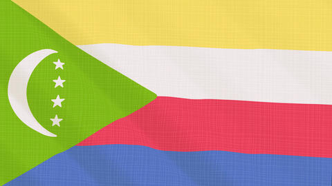 Comoros flag waving in the wind. Icon in the frame. Animation loop Bild