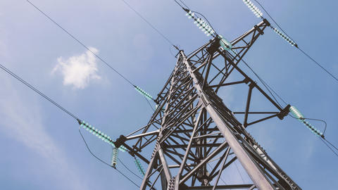 High voltage tower with power cables. Energy industry. Electricity of the net Footage