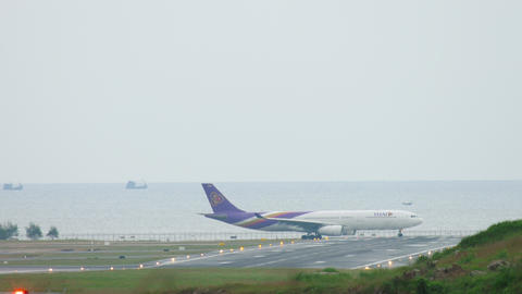 Airplane turn runway before departure Live Action