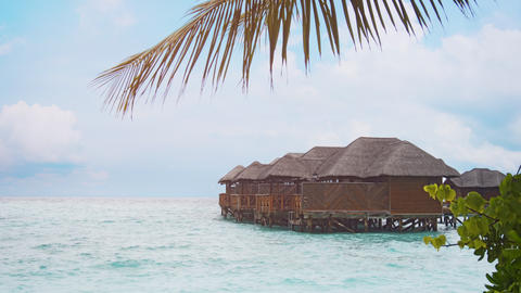 Thatched Roof Villas at Luxury Resort in the Maldives Footage