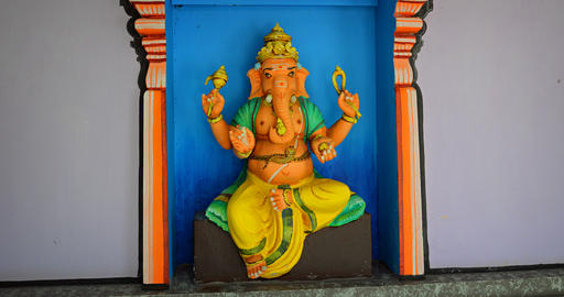 Sculpture of Ganesha. elephant headed Hindu deity. inside a Langkawi temple Footage