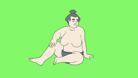 Sitting sumo wrestler 1 Animation