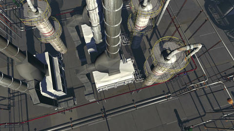 Chemical Plant Aerial Shot Daylight Version Stock Video Footage