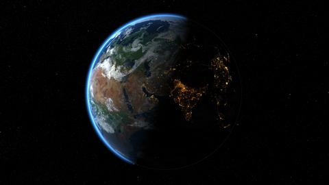 Earth from Space spinning, rotating. Day and Night over Asia. Timelapse. Loop Animation