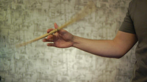 fingers twirling drumstick Footage