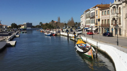 Timelapse of traditional boats and people on the Central Canal Aveiro Portugal Footage